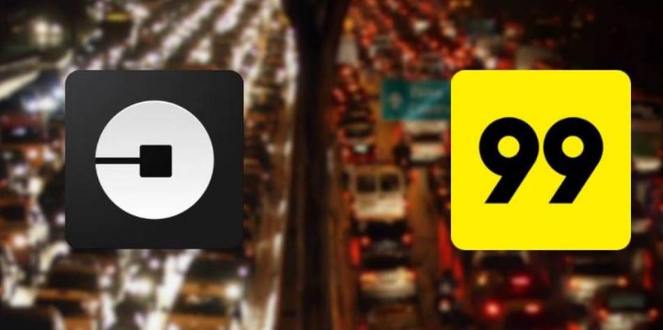 Adesivo da Uber e da 99táxis.